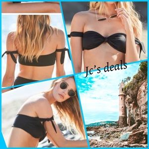 🦋 La hearts black side tie bandeau bikini top 🦋